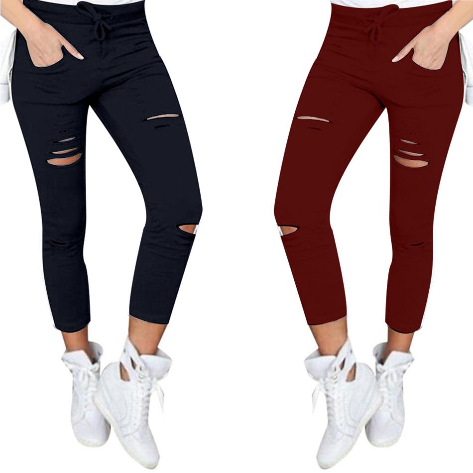 Women's Hollow Solid Cotton Leggings 13