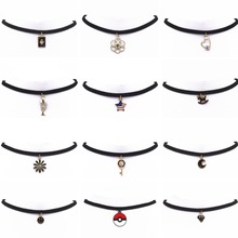 Hot new torques Bijoux Plain Black Velvet Ribbon crystal pendant necklace Maxi statement Chokers Necklace for women 2016 jewelry