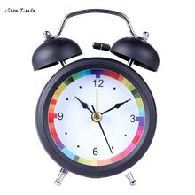 ISHOWTIENDA New 1PC 7.5cm*4.5cm *12cm Classic Simple Metal Shell Two-Way Bell Alarm Clock Home Decoration Bell Alarm Clock(China)