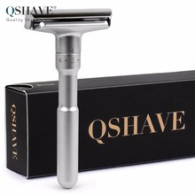 QSHAVE Adjustable Safety Razor Double Edge Classic Mens Shaving Mild to Aggressive 1-6 Files Shaver Hair Removal with 5 Blades