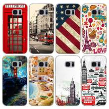 G572 Telephone Box Flag Transparent Hard PC Case Cover For Samsung Galaxy S 3 4 5 6 7 8 Mini Edge Plus Note 3 4 5