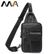 MVA Men Shoulder Bag Small Cell Phone Flap Genuine Leather Bag Strap Sling Men Messenger Bags Leather Chest Pack Mens Chest Bags