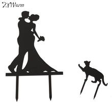 Kiwarm Fashion Bouquet Bride Groom With Cat Wedding Cake Topper Acrylic Silhouette Favors Home Cake Decor Craft Gift Ornament