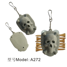 Outdoor Skull Golf Tees Holder Carrier 6 Wooden/Plactic Golf Tees With 3 Ball Markers And Keychain