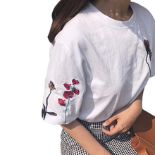 Harajuku Summer Women Casual Loose Slim Wild Personality T-shirts 2017 Women Chic Hong Kong Taste Flowers Embroidery T-shirts