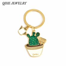 QIHE JEWELRY Enamel Cute Kawaii Potted Cactus Succulents Plant Charm Keychain Accessory Clip Key Ring Gifts for Her