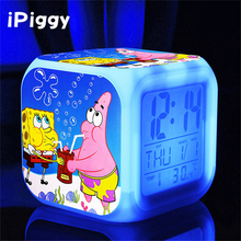 sponge bob spongebob New LED 7 Colors Change Digital bob esponja plush doll Night Colorful Glowing toys Stuffed & Plush Animals(China)