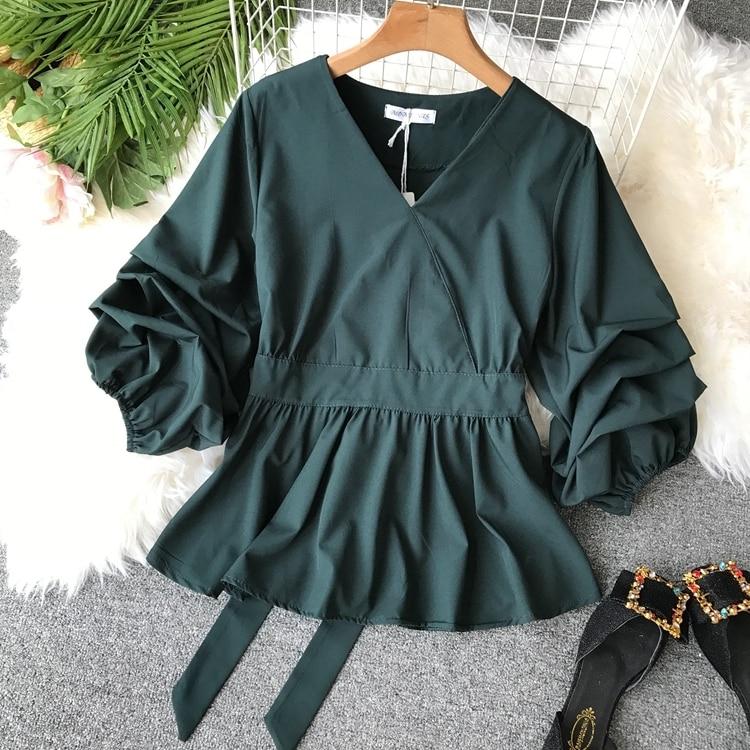 2109 Spring Women V-neck Puff Sleeves Blouse Slim Tunic Tops Retro Vintage Pullovers Busos Para Mujer Kimonos 103 Online shopping Bangladesh