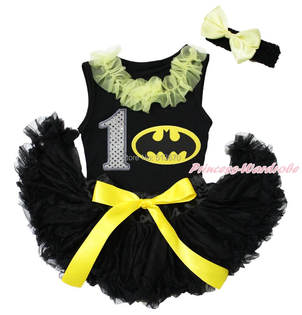 Black Top White 1ST Birthday Bats Girl Black Newborn Baby Pettiskirt Set 3-12M MAJS0259<br><br>Aliexpress