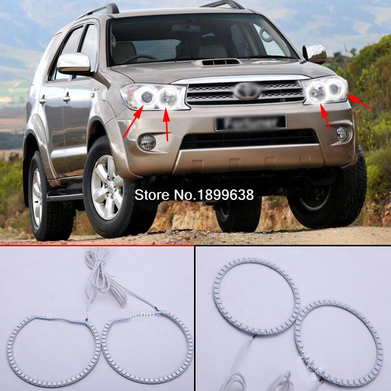 4pcs Super bright 7 color RGB LED Angel Eyes Kit with a remote control car styling For Toyota FORTUNER 2008 2009 2010<br>