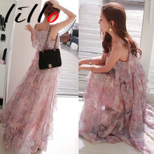 2017 explosion section seaside holiday lotus leaf side harness printing beach chiffon sexy Bosi long dress was thin women sweet