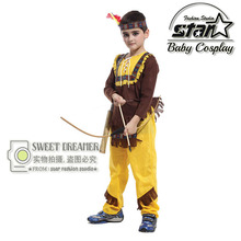 4 Pcs Set Halloween Carnival Party Cosplay Costumes Native American Indian Soldiers Warrior Carnival Fancy Clothes For Children