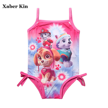 XABER KIN Girls Cartoon Dog Swimsuit One-Piece Rose Swimming Bathing Suits For 3-9Y Children Swimsuit Girls K427-P(China)