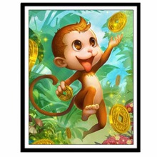 NAIYUE 30*40cm DIY 5D Round Partial Diamond Painting Cross Stitch Cute Monkey Embroidery Decorative Craft Home Decor(China)