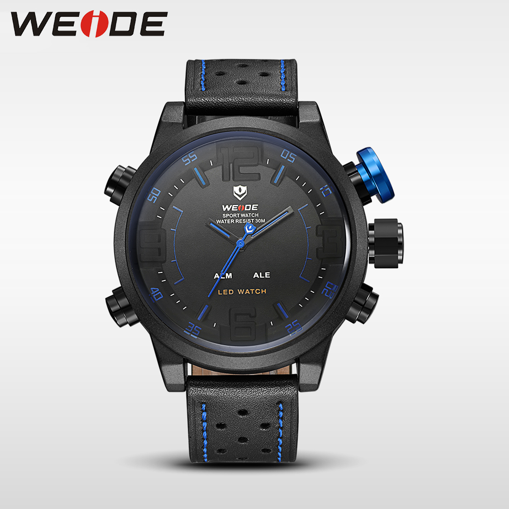 WEIDE Watch Men Sport Water Resist Black Leather Strap Over size LED Display Auto Date Quartz Wristwatches masculino clock army<br>