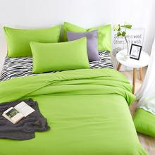 Summer bedding sets Green and zebra striped bed sheet duver quilt cover pillowcase soft comfortable King Queen Full Twin(China)