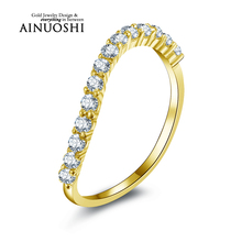 AINUOSHI 10K Solid Yellow Gold Women Engagement Ring Sona Simulated Diamond Wedding Bijoux Bridal Band Ring for Women Engagement