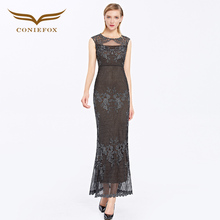 Coniefox 38039 Women Birthday avondjurk Brands Party Formal  Bridesmaid Fantaist Peplum sleeveless  black Champagne Dress 2016