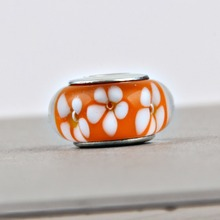 925 Sterling Silver Charm Beads Orange Flower Murano Charm Fit Original Pandora Bracelet Jewelry for Women