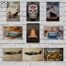 Bath Pool Plane TITANIC Metal Tin Signs House Gallery Lounge Shop Cafe Home Bathroom Wall decoration Vintage Plaques Iron Plate(China)
