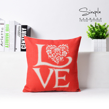 Custom  New Hot Valentine Couple Married Pillow Sofa Cushion Red White Linen For Wedding Festive Gift