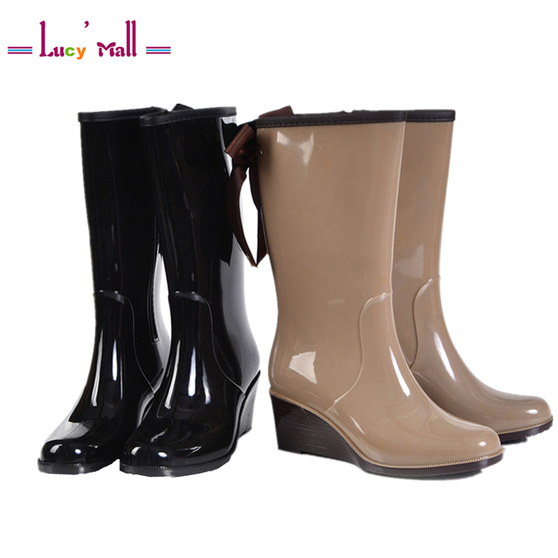Claasic Womens Bowtie Style Tall Waterproof Rain Boots Shoes Ladies Wedges Water Wellies Rainboots Botas Mujer Invierno 2017<br><br>Aliexpress