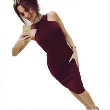 Awedrui Womens Summer Elegant Vintage dress sleeveless Strapless sexy Bodycon Pencil Dress  Wine red vest Party dresses vestidos