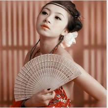 Vintage Folding Bamboo Hand Fans Wooden Hollow Carved Wedding Dancing Bridal Party Decor Fragrant Sandalwood Fan(China)