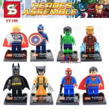 Buy 80pcs super hero Ironman spiderman Superman Batman Captain America hulk Thor building blocks bricks kid children toys iluminador for $54.00 in AliExpress store