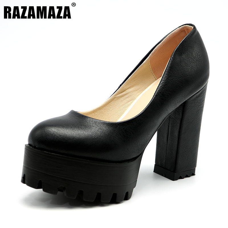 RAZAMAZA Size 32-42 Sexy Women Platform High Heel Shoes Women Solid Color Thick Heels Pumps Party Office Shoes Women Footwears
