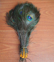 "100Pcs/Lot!10-12""Orange Peacock Feathers with Orange Quills.Orange Peacock Tail Feathers for Costume Supplies&Flower Arrangement"