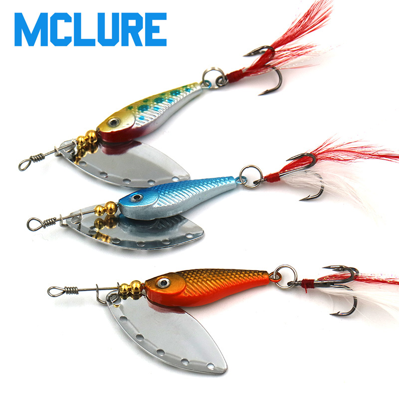 MCLURE 1Pcs16g spinner Spoon Metal Bait Fishin Lure Sequins Crankbait Spoon baits Bass Trout Perch pike rotating Fishing