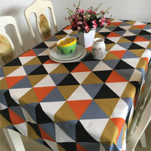 American Style Cloth Woven Tablecloth diamond-shaped pattern Cotton Canvas Dinner Table Cover for fancy restaurant LK062