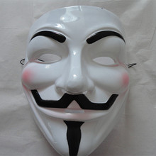 X-MERRY V for Vendetta Guy Fawkes Mask Anonymous Halloween Cosplay-Yellow/White