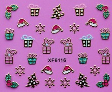 2 Sheet XF new Christmas nail stickers 3D nail stickers gold XF6116