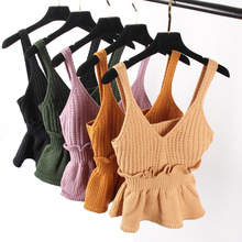 2017 Spring Women Small Tank Top Sweet Sexy Slim Hem Halter Flounced Kitted Vest Tops Basic Pink Khaki Ruffles Crop Tops sweater(China)
