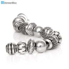 Doreen Box 50PCs Mixed Antique Silver Acrylic Beads Spacers Beads Fit European Charm (B03266)(China)