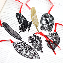 DIY Creative Butterfly Feather Metal Bookmark Lovely Rose Paper Clips For Kids Gift Korean Stationery Free Shipping 743(China)