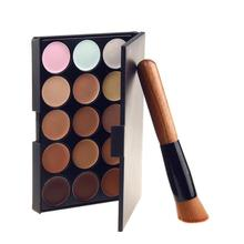 15 Color Concealer Pallete With Brushes Make Up Face Foundation Makeup Base Bronzer Concealer Palette Cream Maquiagem Corretivo(China)