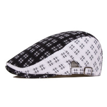 Black and white hat classic check summer outdoor sun-shading male lovers female beret cap