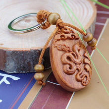 1 pc Hot Fashion llaveros animal Carved Wooden KeyRing Snake Key Chain car small Pendant Charming Keychain woodwork(China)