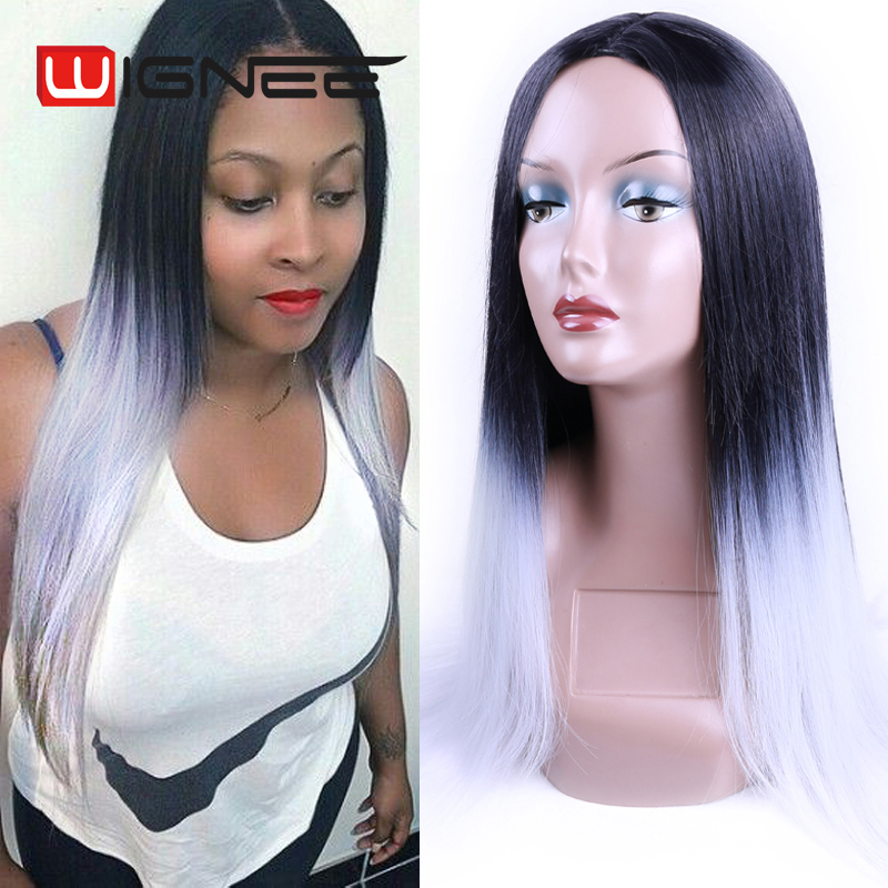 28 Inch Heat Resistant Synthetic Hair Wig Natural Black Grey Long Straight Synthetic Female Wigs None Lace Full Wig Free Ship <br><br>Aliexpress