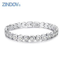 ZINDOV IP Rose Gold Color Overlay Cubic Zirconia Tennis Stainless Steel Bracelet Women Luxury Fashion Top Quality Brand Jewelry(China)