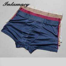 Luxury 100% real Silk Boxer Shorts knitting silk Loose Big size Panty Breathable Antibacterial No Trace(China)
