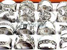 New Rhinestone Big Face White Enamel Crystal Ring Jewelry Wholesale Lots 15pcs Vintage Rings Free Shipping