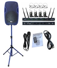 "STARAUDIO SSBM-15 Blue 15"" 3500W PA DJ Powered Active Stage USB SD FM BT Speaker with Stand 4CH UHF Headset Mic"