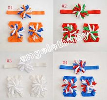 50 combo korker bow Head band Flower + Hand feet Flowers set Christening Accessories triple corker loop hair Bands PD010(China)