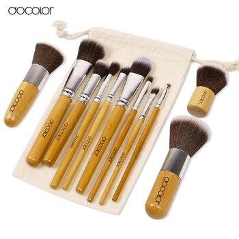 Docolor 11 ШТ. бамбук кисти для макияжа Профессиональные кисти для макияжа указан Мягкая Тени Для Век Фонд Корректор Щетки Щетки BeautyTool