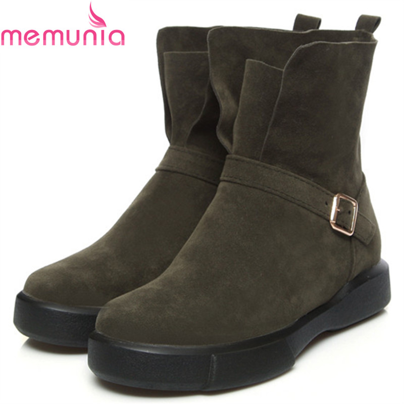 MEMUNIA Plus size 34-43 fashion boots female flock buckle solid womens boots for women autumn winter ankle boots size 34-43<br>