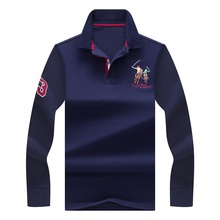 2017 New Autumn Polo Shirt Men Long Sleeve England Style Horse Riding Printed Boss Polos High Quality Brand Polo Homme(China)